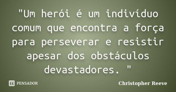 """""""Um herói é um indivíduo comum que encontra a força para perseverar e resistir apesar dos obstáculos devastadores. """"... Frase de Christopher Reeve."""