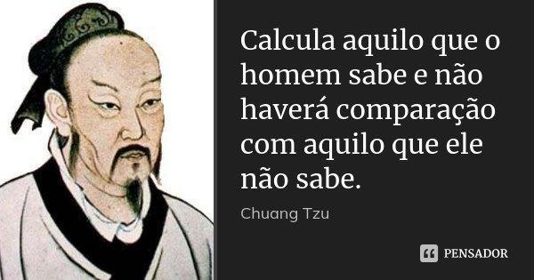 Calcula aquilo que o homem sabe e não haverá comparação com aquilo que ele não sabe.... Frase de Chuang Tzu.
