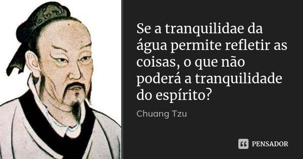Se a tranquilidae da água permite refletir as coisas, o que não poderá a tranquilidade do espírito?... Frase de Chuang Tzu.