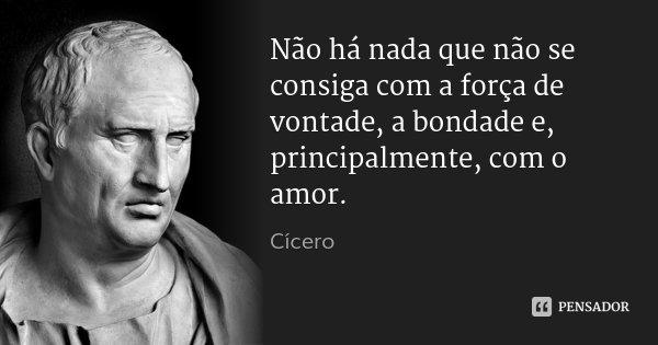 Não há nada que não se consiga com a força de vontade, a bondade e, principalmente, com o amor.... Frase de Cícero.