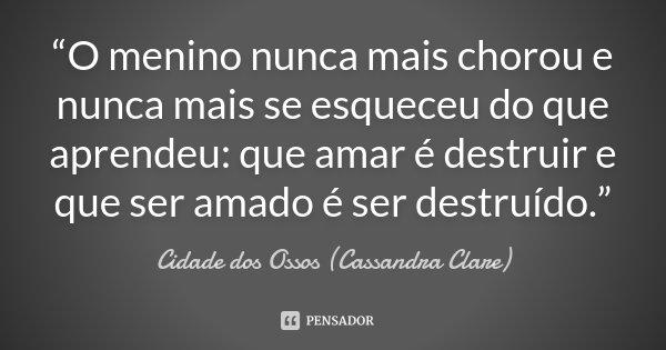 """""""O menino nunca mais chorou e nunca mais se esqueceu do que aprendeu: que amar é destruir e que ser amado é ser destruído.""""... Frase de Cidade dos Ossos (Cassandra Clare)."""