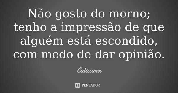 Não gosto do morno; tenho a impressão de que alguém está escondido, com medo de dar opinião.... Frase de Cidissima.