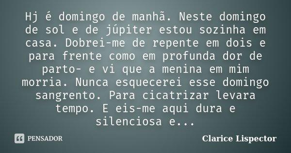 Hj é domingo de manhã. Neste domingo de sol e de júpiter estou sozinha em casa. Dobrei-me de repente em dois e para frente como em profunda dor de parto- e vi q... Frase de Clarice Lispector.