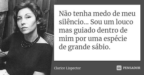 Não tenha medo de meu silêncio... Sou um louco mas guiado dentro de mim por uma espécie de grande sábio.... Frase de Clarice Lispector.