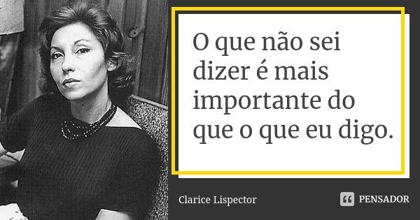 O que não sei dizer é mais importante do que o que eu digo.... Frase de Clarice Lispector.