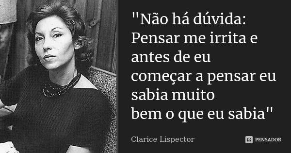 """""""Não há dúvida: Pensar me irrita e antes de eu começar a pensar eu sabia muito bem o que eu sabia""""... Frase de Clarice Lispector."""