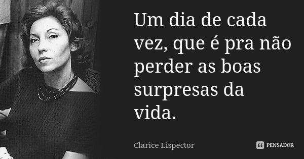 Um dia de cada vez, que é pra não perder as boas surpresas da vida.... Frase de Clarice Lispector.
