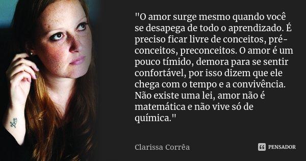 """""""O amor surge mesmo quando você se desapega de todo o aprendizado. É preciso ficar livre de conceitos, pré-conceitos, preconceitos. O amor é um pouco tímid... Frase de Clarissa Corrêa."""