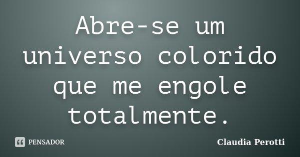 Abre-se um universo colorido que me engole totalmente.... Frase de Claudia Perotti.