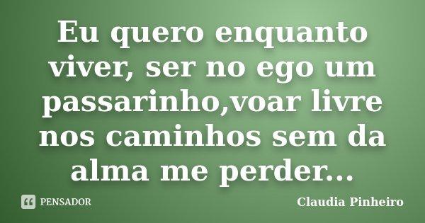 Eu quero enquanto viver, ser no ego um passarinho,voar livre nos caminhos sem da alma me perder...... Frase de Claudia Pinheiro.