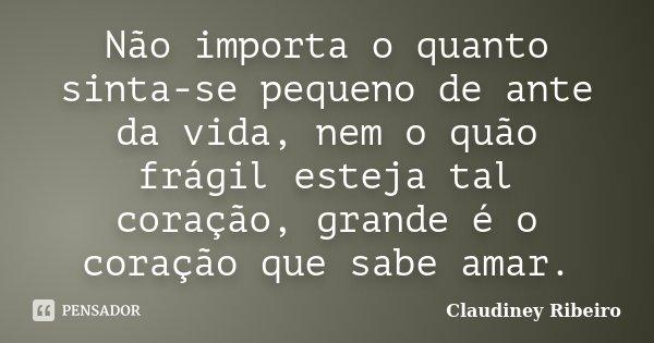 Não importa o quanto sinta-se pequeno de ante da vida, nem o quão frágil esteja tal coração, grande é o coração que sabe amar.... Frase de Claudiney Ribeiro.