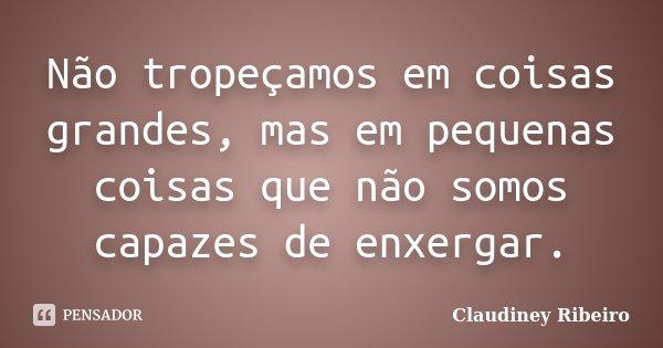 Não tropeçamos em coisas grandes, mas em pequenas coisas que não somos capazes de enxergar.... Frase de Claudiney Ribeiro.