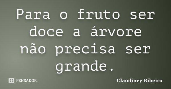 Para o fruto ser doce a árvore não precisa ser grande.... Frase de Claudiney Ribeiro.