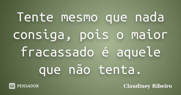Tente mesmo que nada consiga, pois o maior fracassado é aquele que não tenta.... Frase de Claudiney Ribeiro.