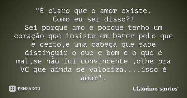 """""""É claro que o amor existe. Como eu sei disso?! Sei porque amo e porque tenho um coração que insiste em bater pelo que é certo,e uma cabeça que sabe distin... Frase de Claudino Santos."""