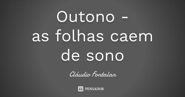 Outono - as folhas caem de sono... Frase de Cláudio Fontalan.