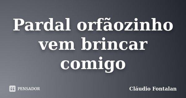 Pardal orfãozinho vem brincar comigo... Frase de Cláudio Fontalan.