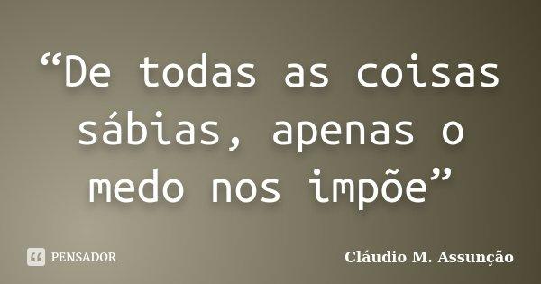 """""""De todas as coisas sábias, apenas o medo nos impõe""""... Frase de Cláudio M. Assunção."""