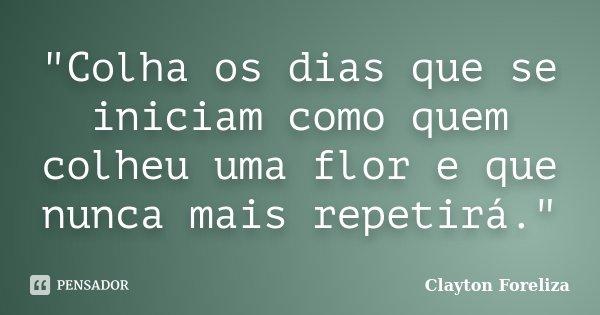 """""""Colha os dias que se iniciam como quem colheu uma flor e que nunca mais repetirá.""""... Frase de Clayton Foreliza."""