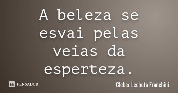 A beleza se esvai pelas veias da esperteza.... Frase de Cleber Lecheta Franchini.