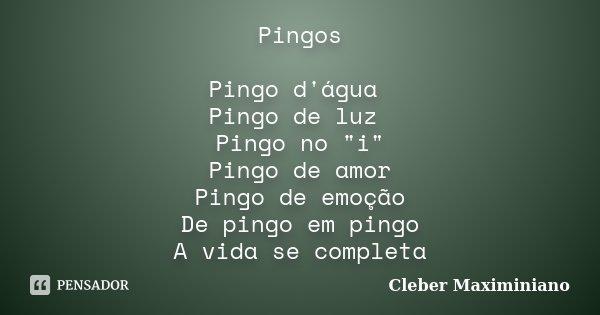 """Pingos Pingo d'água Pingo de luz Pingo no """"i"""" Pingo de amor Pingo de emoção De pingo em pingo A vida se completa... Frase de Cleber Maximiniano."""