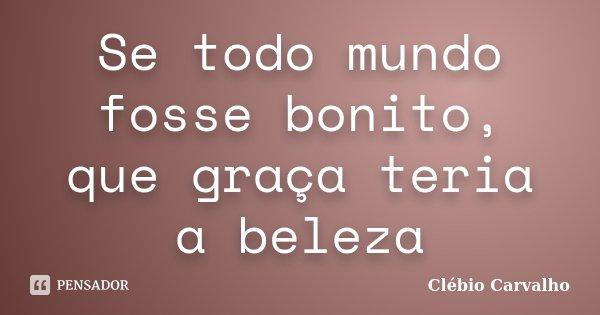 Se todo mundo fosse bonito, que graça teria a beleza... Frase de Clébio Carvalho.