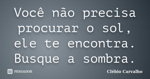 Você não precisa procurar o sol, ele te encontra. Busque a sombra.... Frase de Clébio Carvalho.