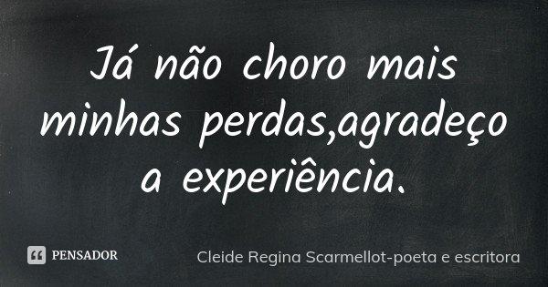 Já não choro mais minhas perdas,agradeço a experiência.... Frase de Cleide Regina Scarmellot-poeta e escritora.