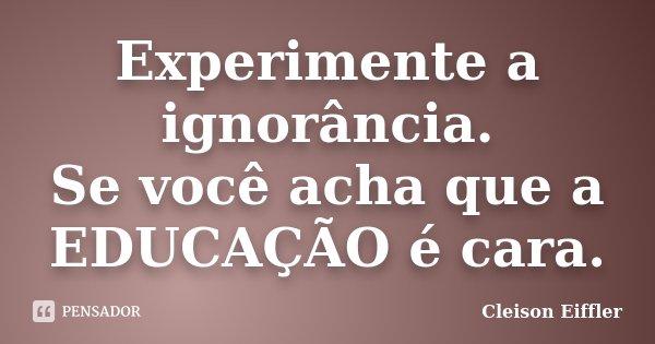 Experimente a ignorância. Se você acha que a EDUCAÇÃO é cara.... Frase de Cleison Eiffler.