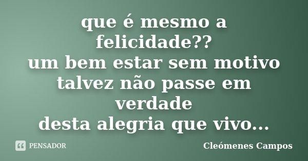 que é mesmo a felicidade?? um bem estar sem motivo talvez não passe em verdade desta alegria que vivo...... Frase de Cleomenes Campos.