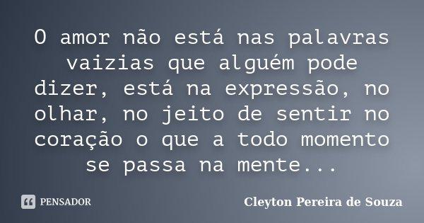 O amor não está nas palavras vaizias que alguém pode dizer, está na expressão, no olhar, no jeito de sentir no coração o que a todo momento se passa na mente...... Frase de Cleyton Pereira de Souza.