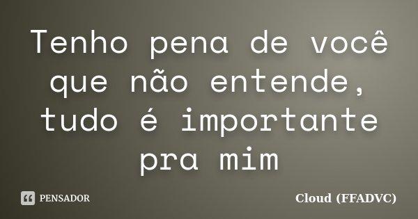 Tenho pena de você que não entende, tudo é importante pra mim... Frase de Cloud (FFADVC).
