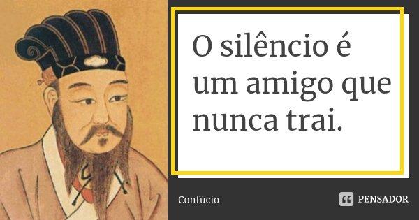 O silêncio é um amigo que nunca trai.... Frase de Confúcio.