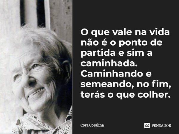 O que vale na vida não é o ponto de partida e sim a caminhada. Caminhando e semeando, no fim terás o que colher.... Frase de Cora Coralina.