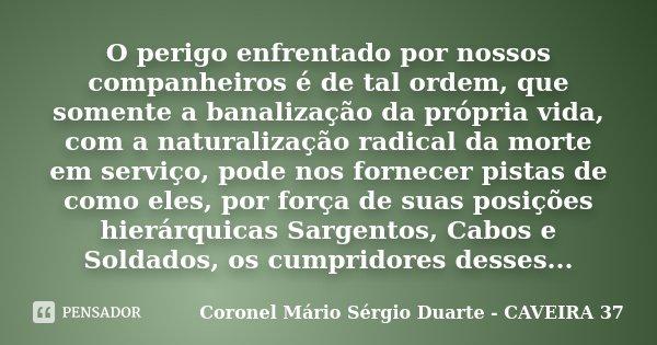 O perigo enfrentado por nossos companheiros é de tal ordem, que somente a banalização da própria vida, com a naturalização radical da morte em serviço, pode nos... Frase de Coronel Mário Sérgio Duarte - CAVEIRA 37.