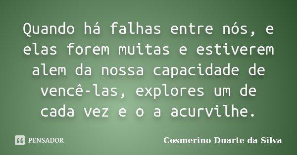 Quando há falhas entre nós, e elas forem muitas e estiverem alem da nossa capacidade de vencê-las, explores um de cada vez e o a acurvilhe.... Frase de Cosmerino Duarte da Silva.