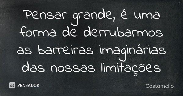 Pensar grande, é uma forma de derrubarmos as barreiras imaginárias das nossas limitações... Frase de Costamello.