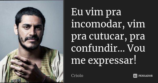 Eu vim pra incomodar, vim pra cutucar, pra confundir... Vou me expressar!... Frase de Criolo.