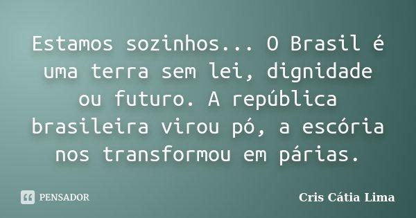 Estamos sozinhos... O Brasil é uma terra sem lei, dignidade ou futuro. A república brasileira virou pó, a escória nos transformou em párias.... Frase de Cris Cátia Lima.