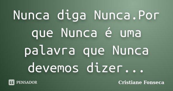 Nunca diga Nunca.Por que Nunca é uma palavra que Nunca devemos dizer...... Frase de Cristiane Fonseca.