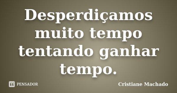 Desperdiçamos muito tempo tentando ganhar tempo.... Frase de Cristiane Machado.