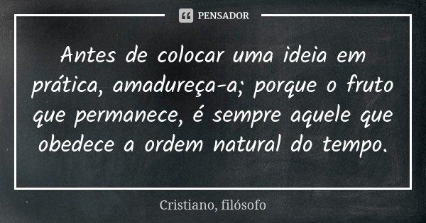 Antes de colocar uma ideia em prática, amadureça-a; porque o fruto que permanece, é sempre aquele que obedece a ordem natural do tempo.... Frase de Cristiano, filósofo.