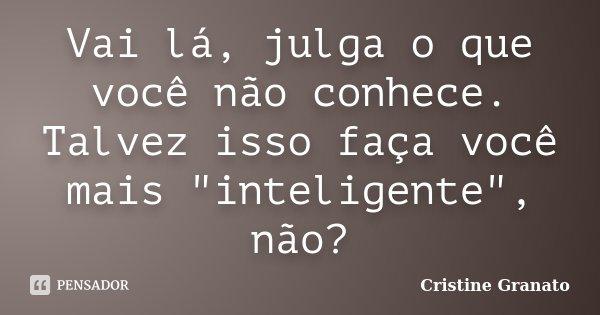 """Vai lá, julga o que você não conhece. Talvez isso faça você mais """"inteligente"""", não?... Frase de Cristine Granato."""