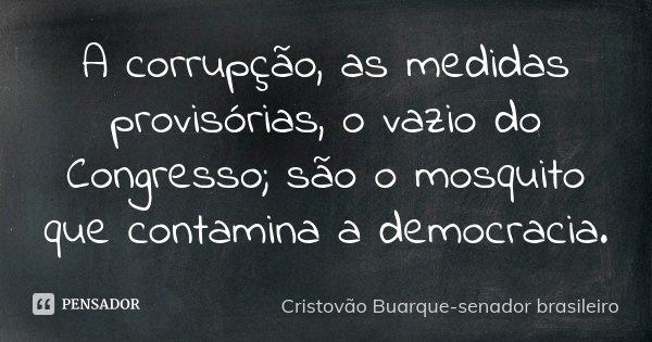 A corrupção, as medidas provisórias, o vazio do comgresso; são o mosquito que contaminam a democracia.... Frase de Cristovão Buarque-senador brasileiro.