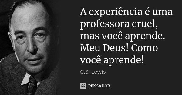 A experiência é uma professora cruel, mas você aprende. Meu Deus! Como você aprende!... Frase de C.S. Lewis.