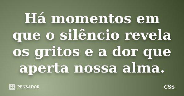 Há momentos em que o silêncio revela os gritos e a dor que aperta nossa alma.... Frase de Css.