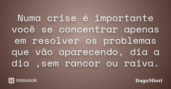 Numa crise é importante você se concentrar apenas em resolver os problemas que vão aparecendo, dia a dia ,sem rancor ou raiva.... Frase de DagoMiori.
