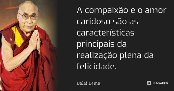 A compaixão e o amor caridoso são as características principais da realização plena da felicidade.... Frase de Dalai Lama.
