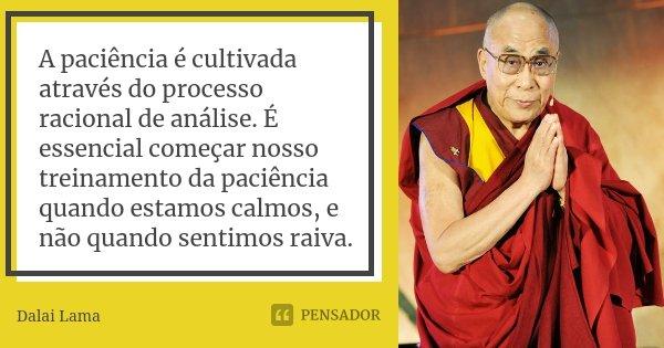 A paciência é cultivada através do processo racional de análise. É essencial começar nosso treinamento da paciência quando estamos calmos, e não quando sentimos... Frase de Dalai Lama.