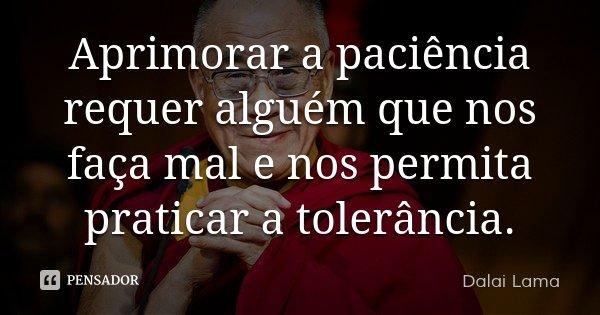 Aprimorar a paciência requer alguém que nos faça mal e nos permita praticar a tolerância.... Frase de Dalai Lama.